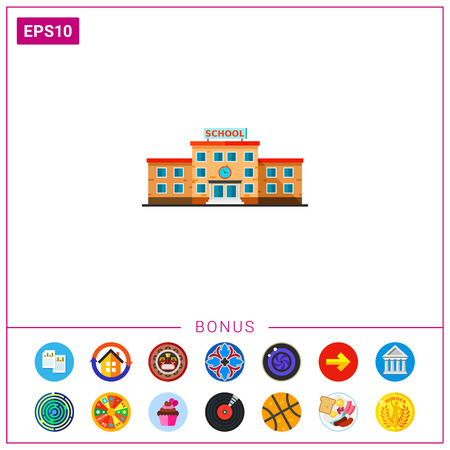 Three-storied School Building Icon Stock Illustratie