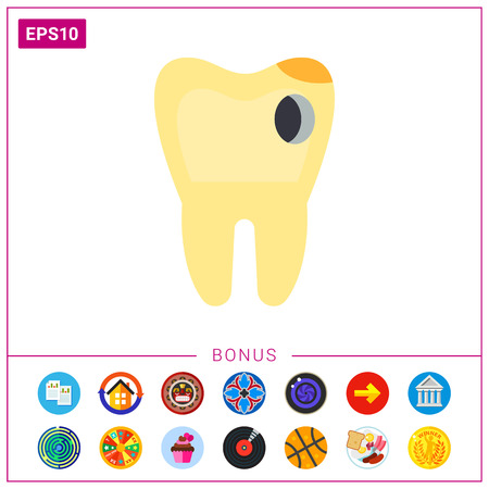 carious: Tooth with Hole as Caries Concept Icon