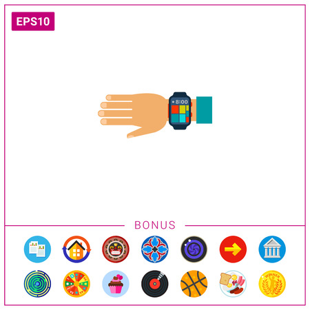 computerized: Wearable Smartwatch on Hand Icon
