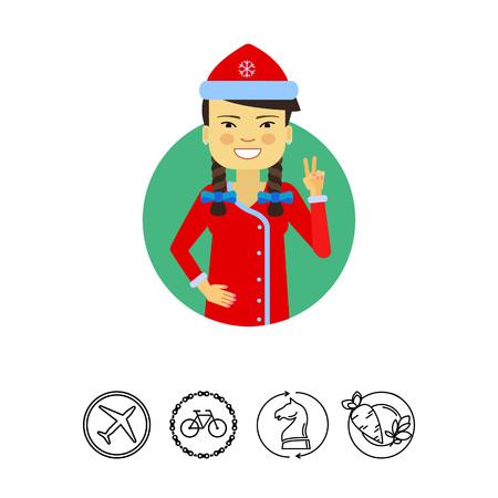 earrings: Female character, portrait of Asian woman wearing Santa costume, showing victory gesture