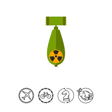 Atomic bomb with radiation sign. Explosion, destruction, terror. Bomb concept. Can be used for topics like war, weapon, technology.