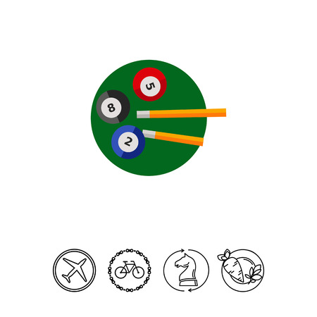 game of pool: Billiard Balls and Cues Icon Illustration