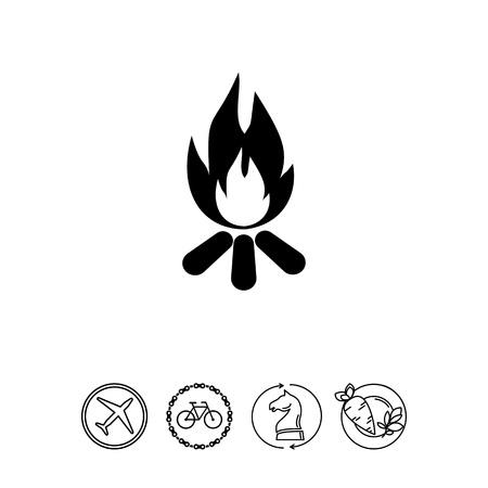 midsummer: Burning Campfire Icon Illustration