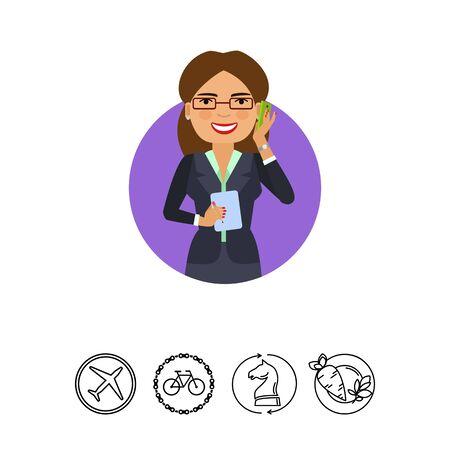 earrings: Businesswoman in glasses talking on phone