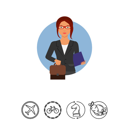 Businesswoman with suitcase and folder