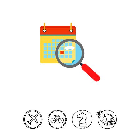event planning: Calendar and Magnifying Glass Icon Illustration