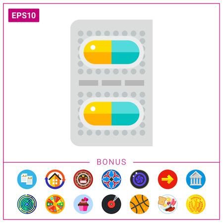 Two Capsule Pills Icon Illustration