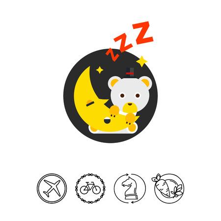 snoring: Cartoon Teddy Bear on Moon Icon