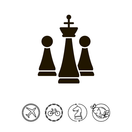 chessman: Chess king and pawns Illustration