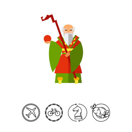 Chinese Old Wise Man Icon