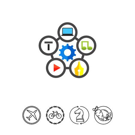 Content Management Flat Icon Illustration