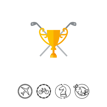 award winning: Crossed Golf Clubs and Cup Icon
