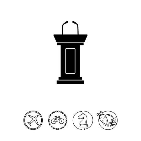 政治討論のための 2 つのマイクと空の表彰台のベクトルのアイコン