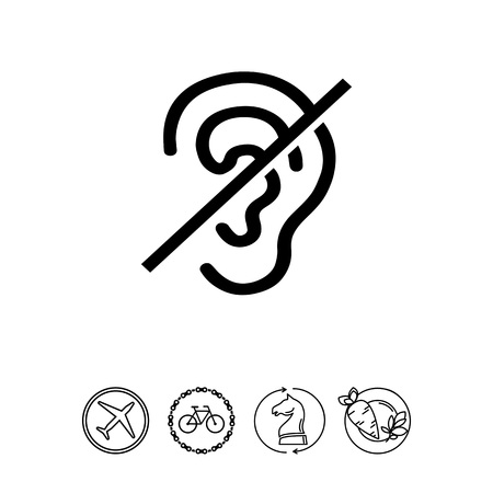 Crossed out ear. Invalid, silence, sense. Disabled concept. Can be used for topics like medicine, health, marketing. Imagens - 78059675