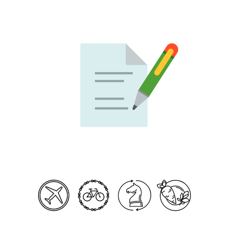 documentation: Icon of document and writing pen Illustration