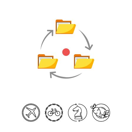 Icon of folders with documents arranged in circle with arrows