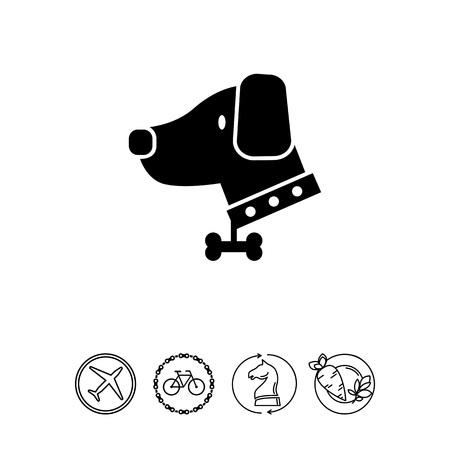 Vector icon of dog wearing dog collar decorated with bone pendant