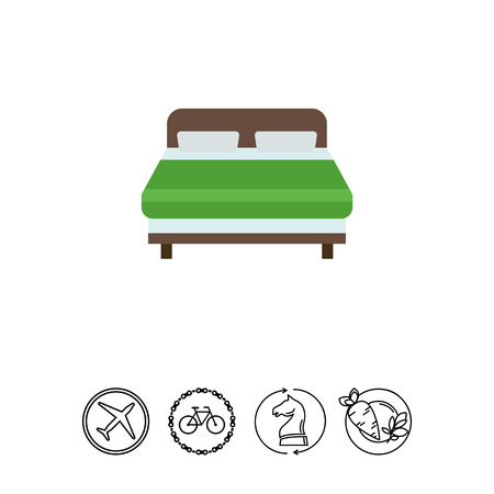Icon of wooden double bed covered with green blanket Illustration