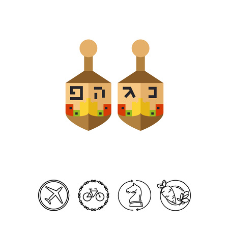 Multicolored vector icon of two dreidels with Hebrew letters Illustration