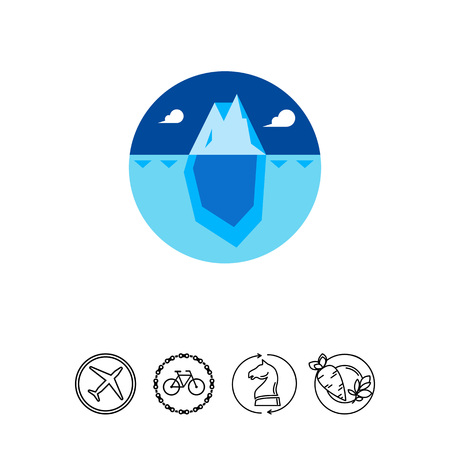 Huge blue iceberg with tip over water surface and bigger part under water. Ocean, cold, frozen. Iceberg concept. Can be used for topics like nature, north, marketing. Illustration