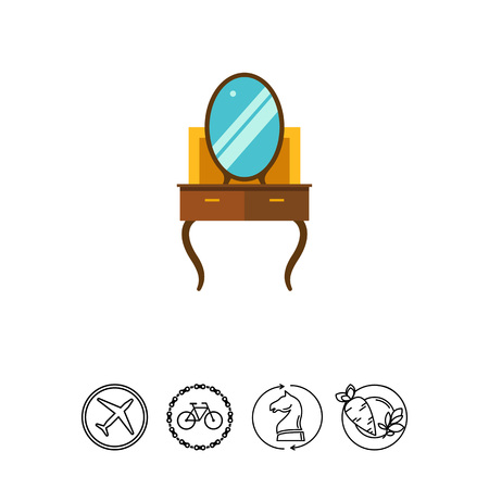 chest of drawers: Multicolored vector icon of brown dressing table Illustration