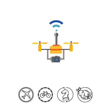 Multicolored flat icon of drone technology, flying copter with camera and wireless connection Vetores
