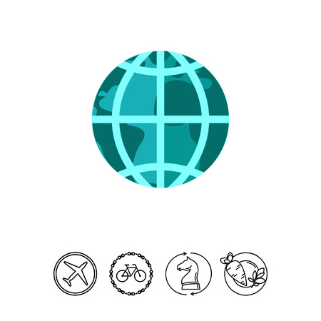 Vector icon of Earth globe with meridians and parallels, isolated on white