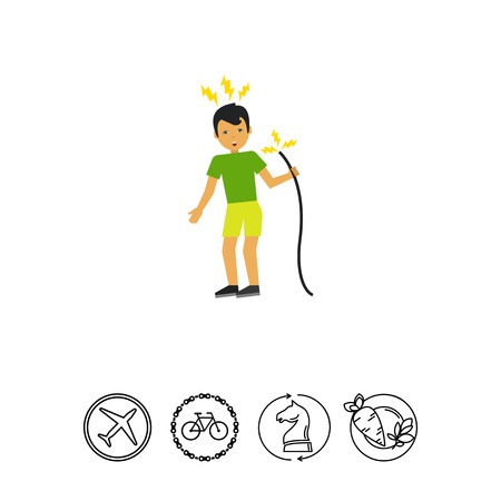Illustration of man getting electric shock from cable. Accident, electricity, danger. Electric shock concept. Can be used for topics like electricity, accident, work safety Illustration