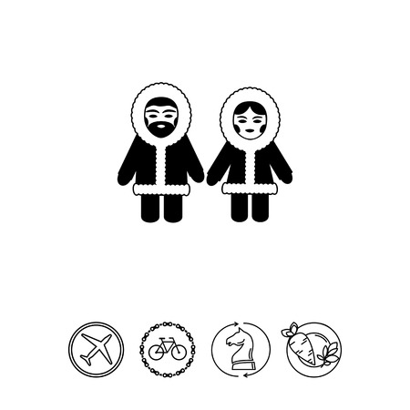 fur hood: Vector icon of Eskimo man and woman wearing fur coat with hood Illustration
