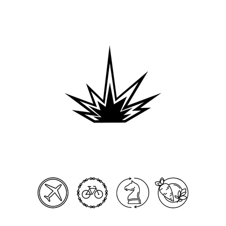 Monochrome vector icon of explosion, outburst of fire and light