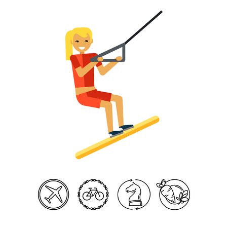 water skiing: Female Water Skier Icon Illustration