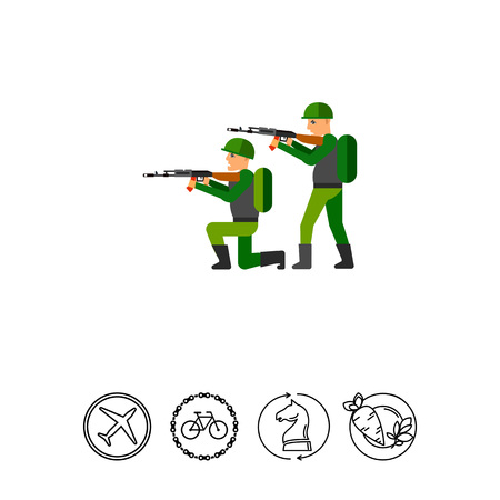 firing: Fighting Concept Icon with Military Men Illustration