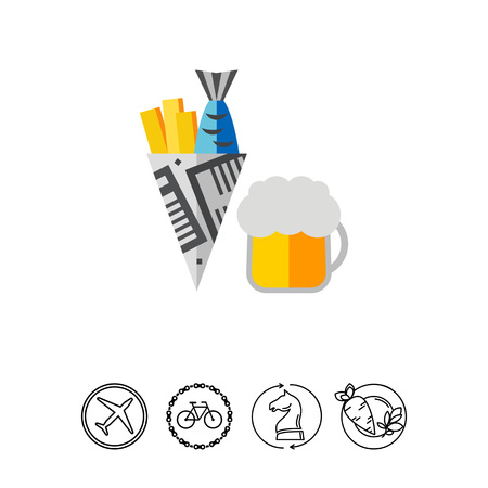 Fish and Chips Icon Illustration