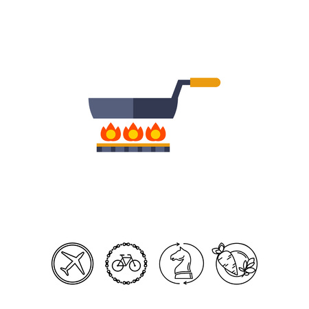 Multicolored vector icon of frying pan standing on gas cooker Illustration