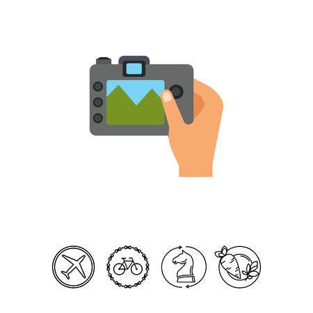 Vector icon of human hand holding digital snapshot camera
