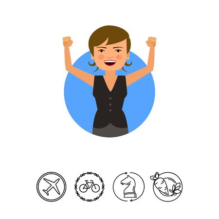 Excited businesswoman with hands up Illustration