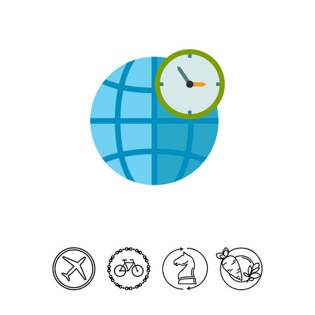 Globe and Clock Showing World Time Icon