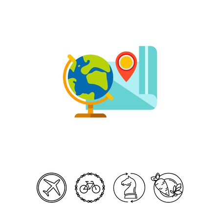 features: Globe and Map as Geography Concept Icon