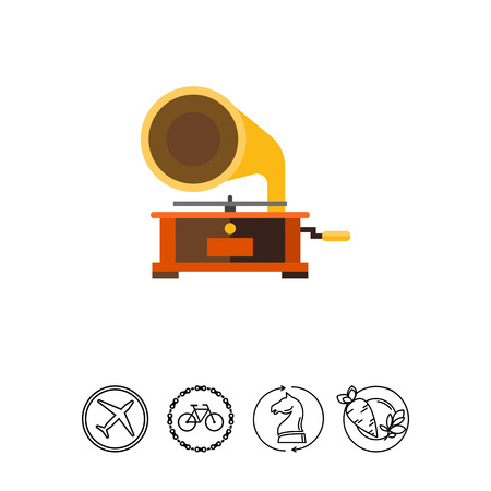 Illustration of gramophone. Record player, music, phonograph, antiques. Music concept. Can be used for topics like music, entertainment, antiques