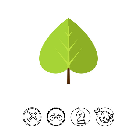 Multicolored vector icon of green linden leaf