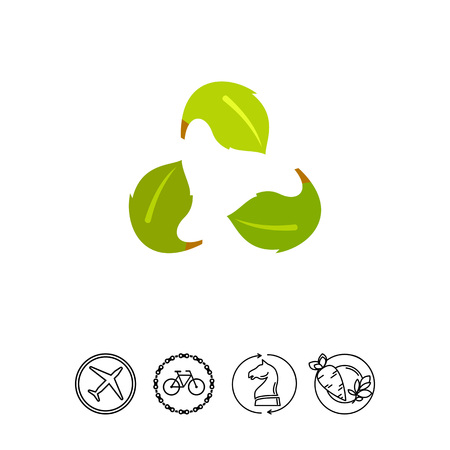 concerns: Leaves in from of recycle sign. Ecology, environment, protection, nature. Ecology concept. Can be used for topics like ecology, environment, nature