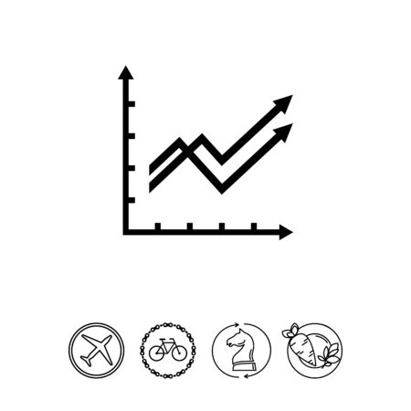 Vector icon of two growing line graphs with arrows