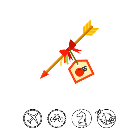 Multicolored vector icon of decorative Hamaya arrow with New Year card Illustration