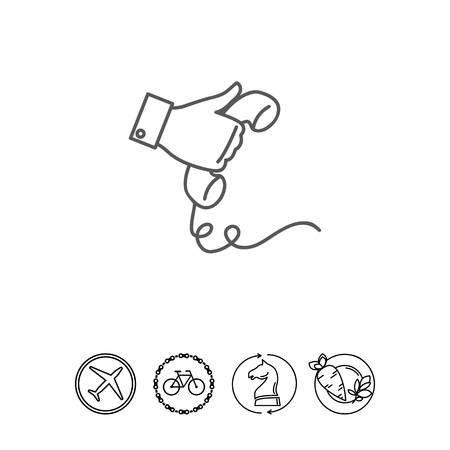 Icon of man hand holding telephone receiver Illustration