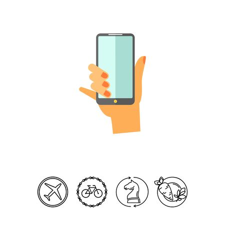 using smart phone: Hand with Smartphone Icon