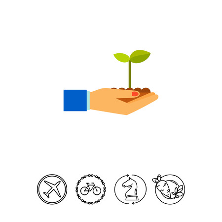 Hands with Plant Icon