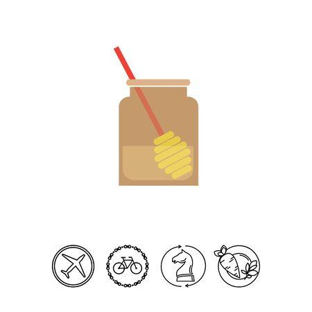 dipper: Honey jar with dipper Illustration