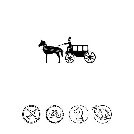 Horse Coach Icon Illustration