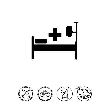 Hospital Bed and Drip Chamber Icon