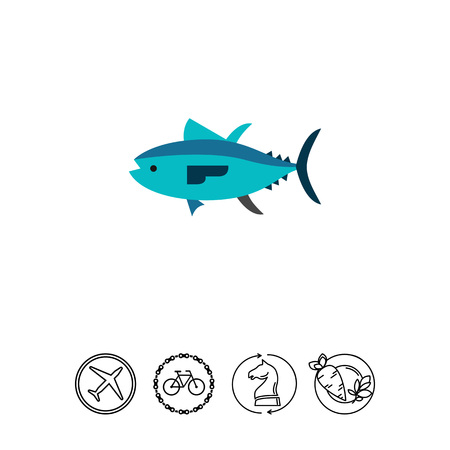 bluefin tuna: Isolated tuna. Catch, water, wildlife. Fish concept. Can be used for topics like fishing, zoology, cooking. Illustration